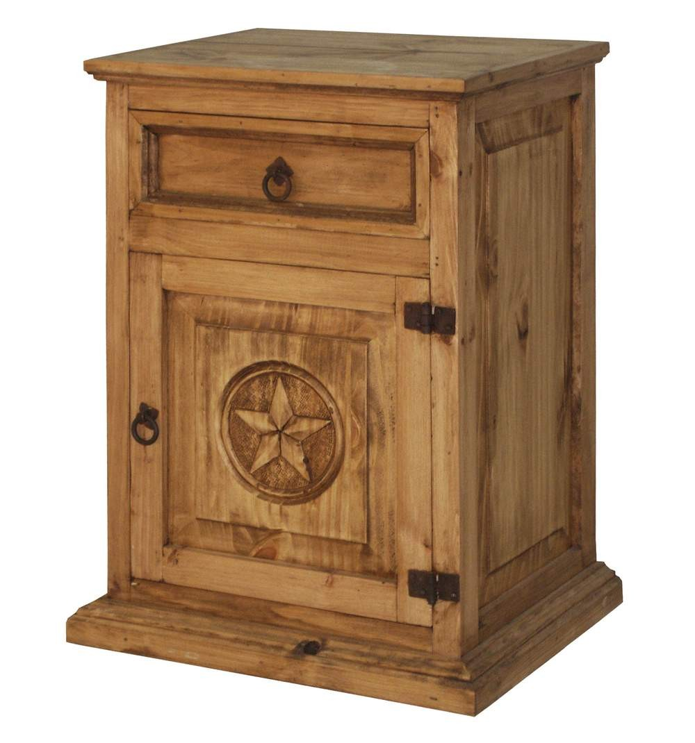 Rustic wood nightstand with texas star mexican rustic furniture and home decor accessories Wooden furniture pics