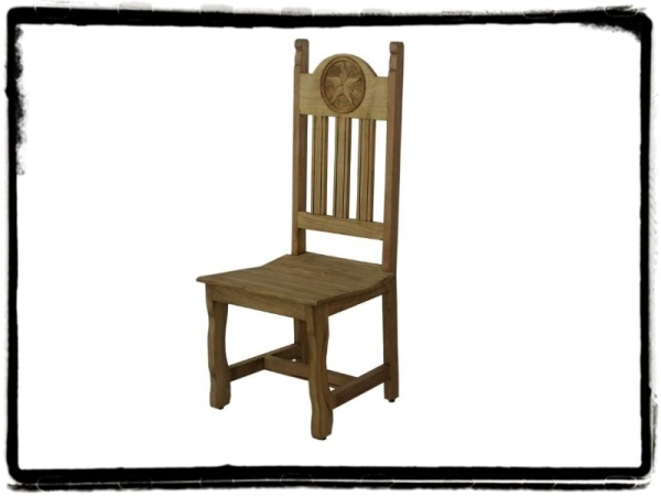 Rustic Dining Chair With Carved Texas Star